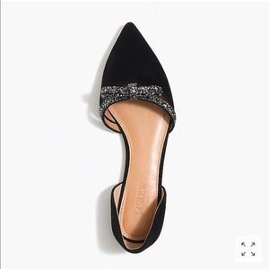 J. Crew Suede Flat With Glitter Bow